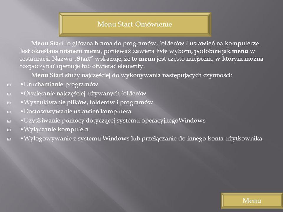 Menu Start to główna brama do programów, folderów i ustawień na komputerze. Jest określana mianem menu, ponieważ zawiera listę wyboru, podobnie jak me