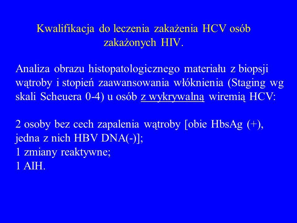 Kwalifikacja do leczenia zakażenia HCV osób zakażonych HIV. Analiza obrazu histopatologicznego materiału z biopsji wątroby i stopień zaawansowania włó