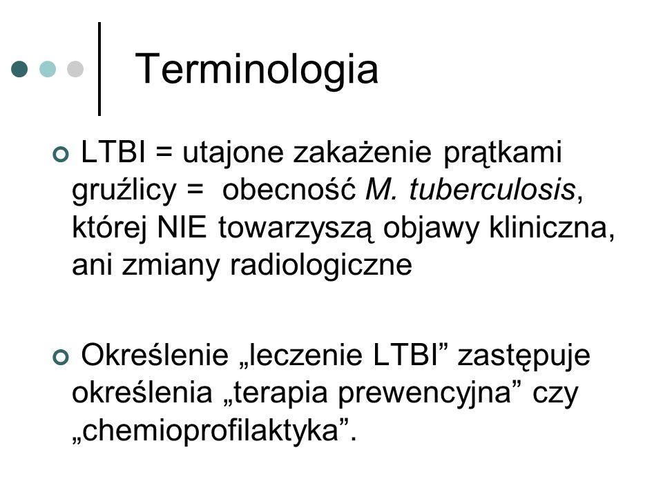 Terminologia LTBI = utajone zakażenie prątkami gruźlicy = obecność M. tuberculosis, której NIE towarzyszą objawy kliniczna, ani zmiany radiologiczne O