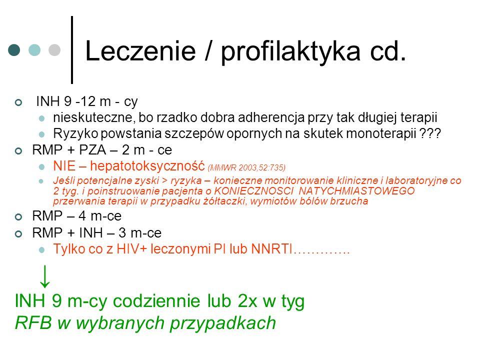 Leczenie / profilaktyka cd. INH 9 -12 m - cy nieskuteczne, bo rzadko dobra adherencja przy tak długiej terapii Ryzyko powstania szczepów opornych na s