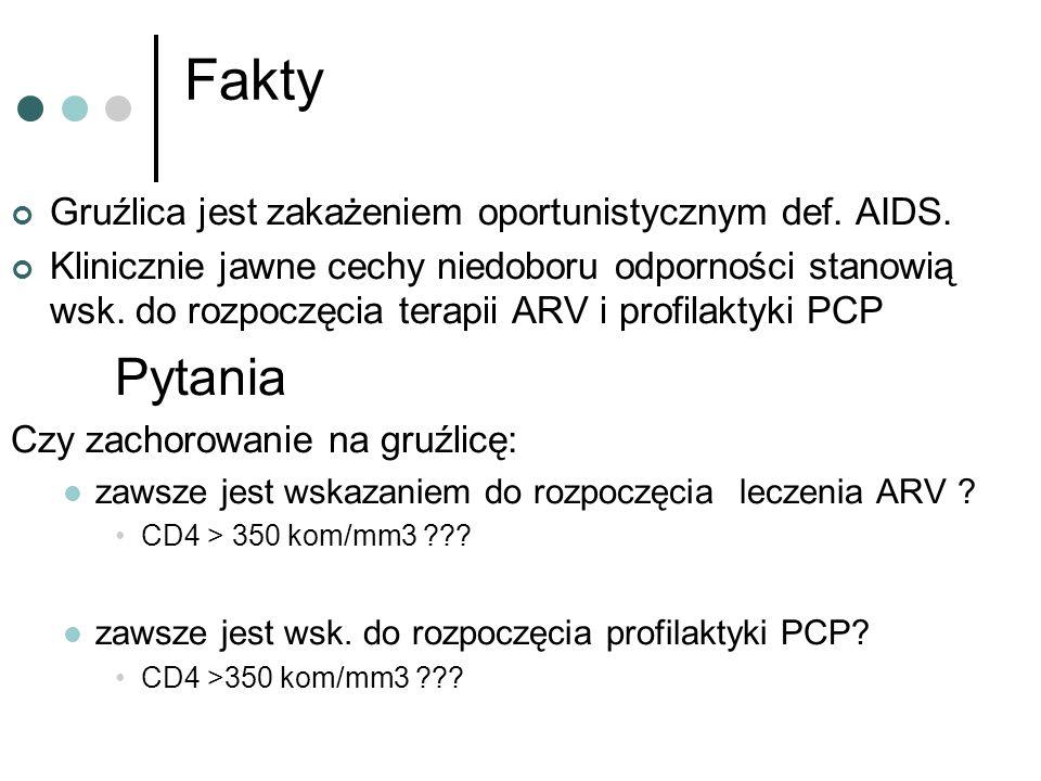 Fakty Gruźlica jest zakażeniem oportunistycznym def. AIDS. Klinicznie jawne cechy niedoboru odporności stanowią wsk. do rozpoczęcia terapii ARV i prof