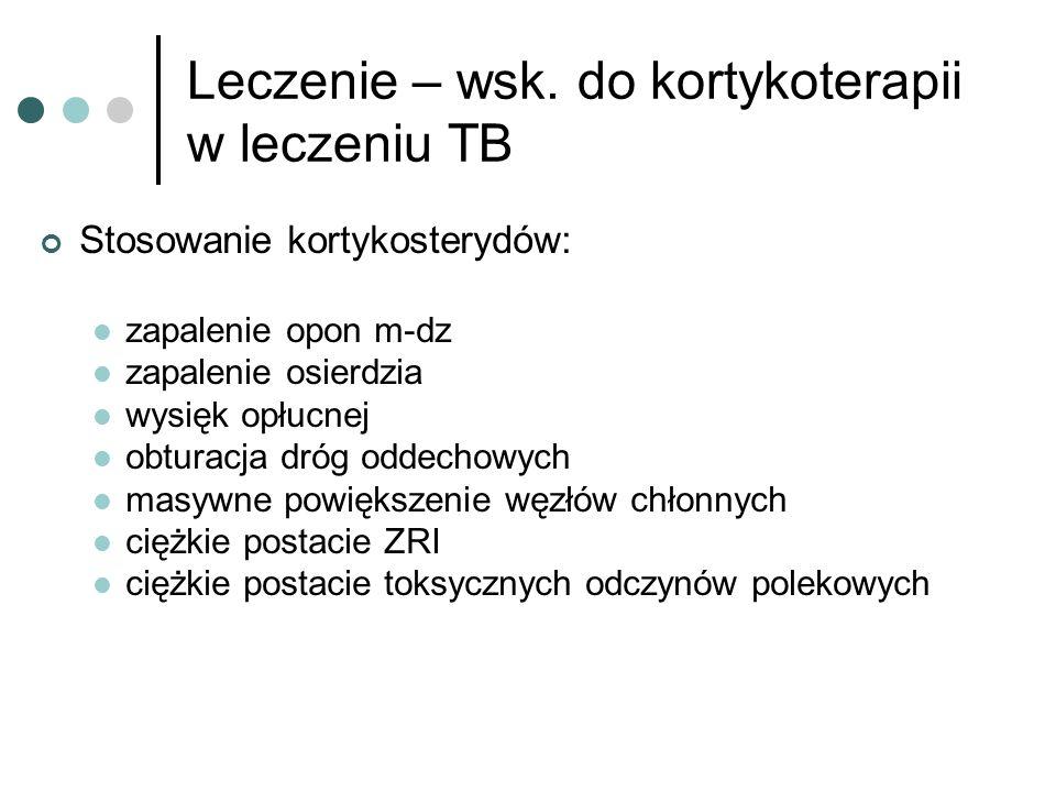 Leczenie – wsk. do kortykoterapii w leczeniu TB Stosowanie kortykosterydów: zapalenie opon m-dz zapalenie osierdzia wysięk opłucnej obturacja dróg odd