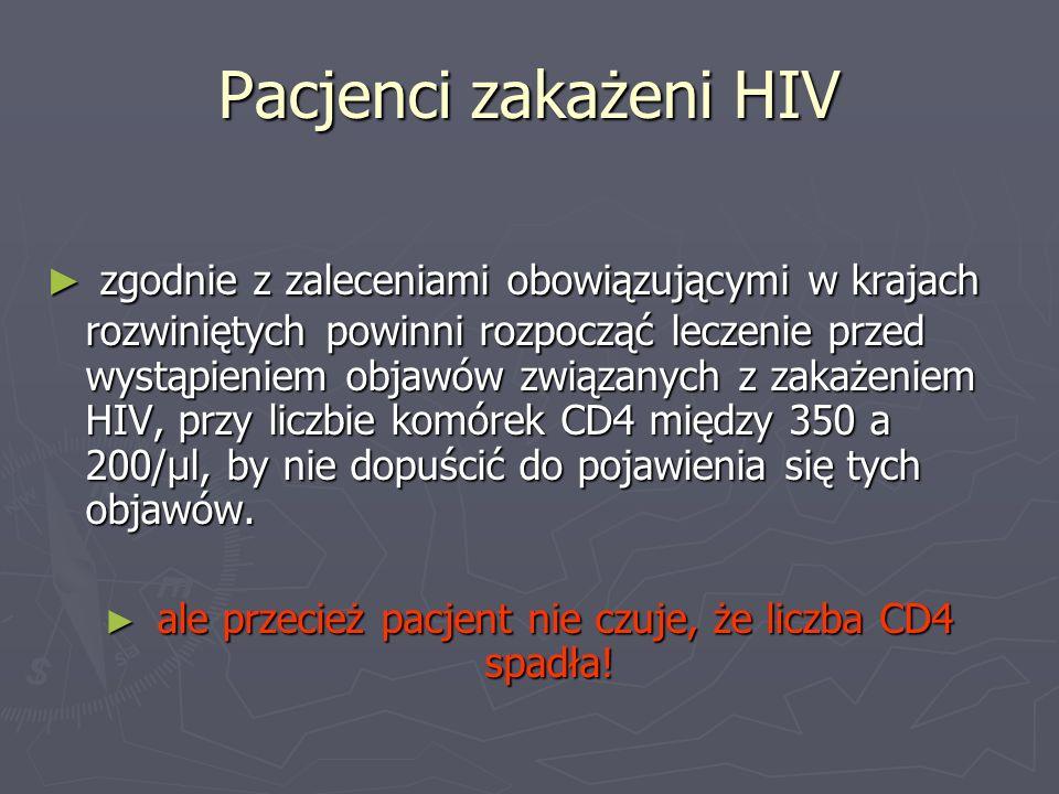 Pacjenci zakażeni HIV zgodnie z zaleceniami obowiązującymi w krajach rozwiniętych powinni rozpocząć leczenie przed wystąpieniem objawów związanych z z