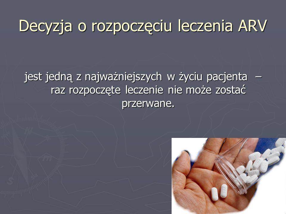 Decyzja o rozpoczęciu leczenia ARV jest jedną z najważniejszych w życiu pacjenta – raz rozpoczęte leczenie nie może zostać przerwane.