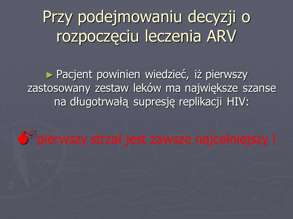 Przy podejmowaniu decyzji o rozpoczęciu leczenia ARV Pacjent powinien wiedzieć, iż pierwszy zastosowany zestaw leków ma największe szanse na długotrwa