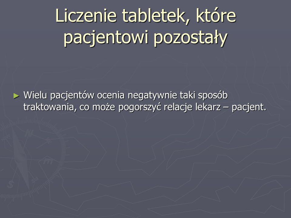 Liczenie tabletek, które pacjentowi pozostały Wielu pacjentów ocenia negatywnie taki sposób traktowania, co może pogorszyć relacje lekarz – pacjent. W
