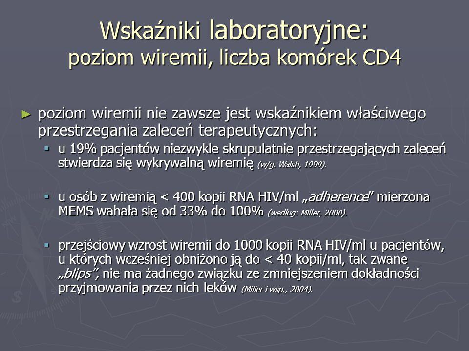 Wskaźniki laboratoryjne: poziom wiremii, liczba komórek CD4 poziom wiremii nie zawsze jest wskaźnikiem właściwego przestrzegania zaleceń terapeutyczny