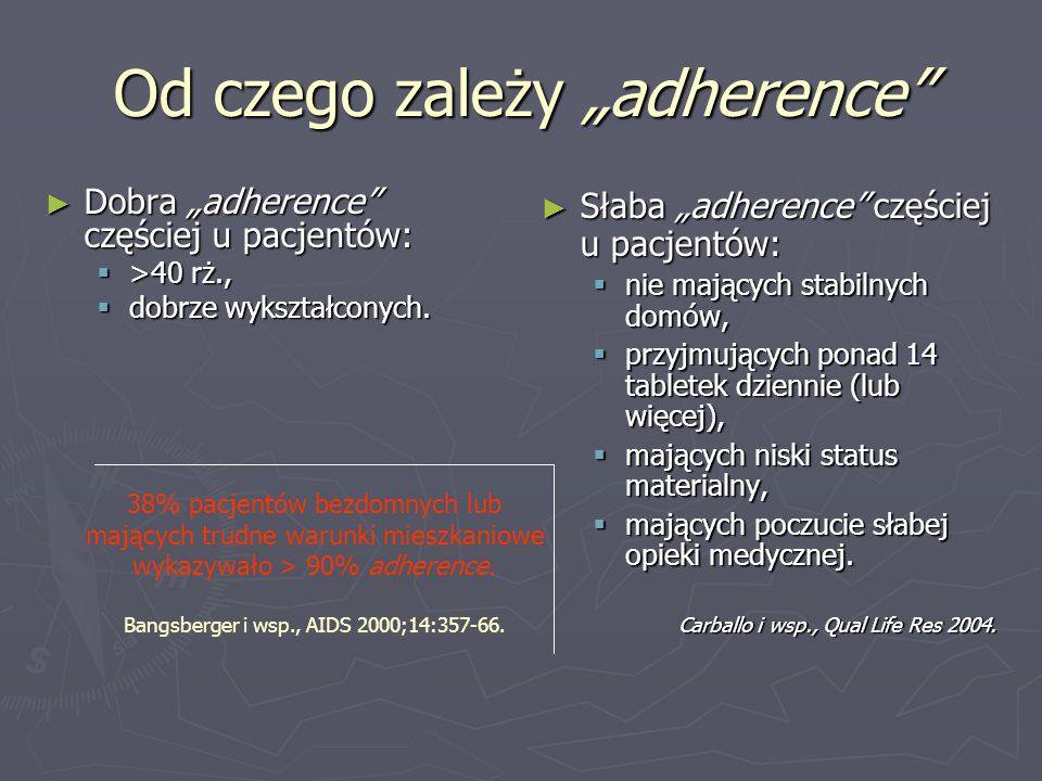 Od czego zależy adherence Dobra adherence częściej u pacjentów: Dobra adherence częściej u pacjentów: >40 rż., >40 rż., dobrze wykształconych. dobrze