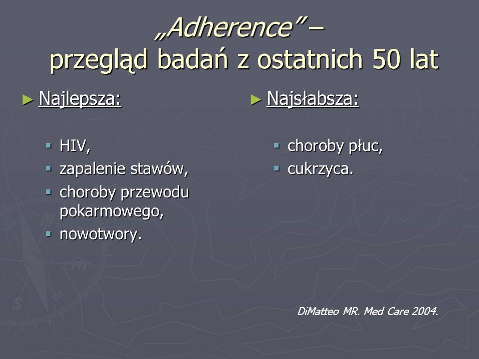 Adherence – przegląd badań z ostatnich 50 lat Najlepsza: Najlepsza: HIV, HIV, zapalenie stawów, zapalenie stawów, choroby przewodu pokarmowego, chorob