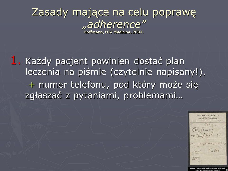 Zasady mające na celu poprawę adherence Hoffmann, HIV Medicine, 2004. 1. Każdy pacjent powinien dostać plan leczenia na piśmie (czytelnie napisany!),
