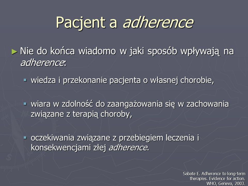 Pacjent a adherence Nie do końca wiadomo w jaki sposób wpływają na adherence: Nie do końca wiadomo w jaki sposób wpływają na adherence: wiedza i przek