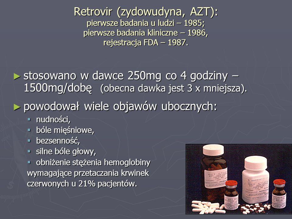 Retrovir (zydowudyna, AZT): pierwsze badania u ludzi – 1985; pierwsze badania kliniczne – 1986, rejestracja FDA – 1987. stosowano w dawce 250mg co 4 g