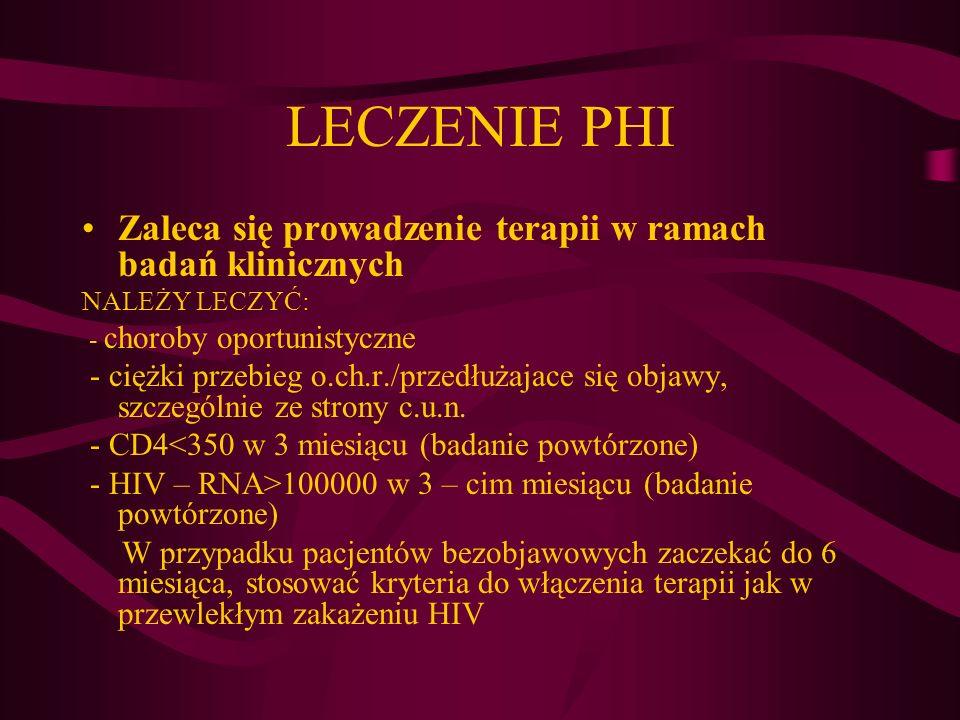 LECZENIE PHI Zaleca się prowadzenie terapii w ramach badań klinicznych NALEŻY LECZYĆ: - choroby oportunistyczne - ciężki przebieg o.ch.r./przedłużajac
