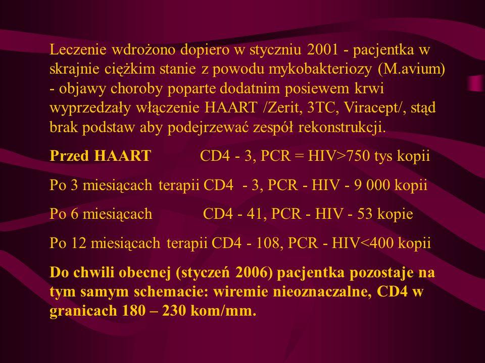 Leczenie wdrożono dopiero w styczniu 2001 - pacjentka w skrajnie ciężkim stanie z powodu mykobakteriozy (M.avium) - objawy choroby poparte dodatnim po
