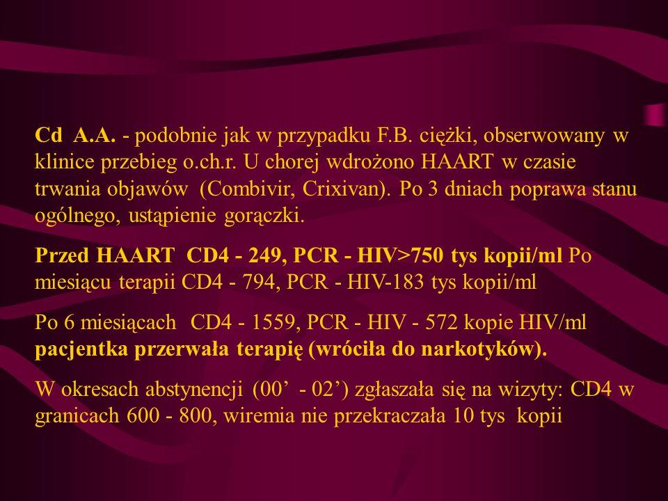 Cd A.A. - podobnie jak w przypadku F.B. ciężki, obserwowany w klinice przebieg o.ch.r. U chorej wdrożono HAART w czasie trwania objawów (Combivir, Cri