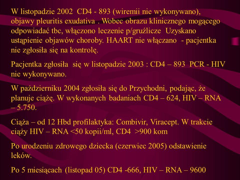 W listopadzie 2002 CD4 - 893 (wiremii nie wykonywano), objawy pleuritis exudativa. Wobec obrazu klinicznego mogącego odpowiadać tbc, włączono leczenie