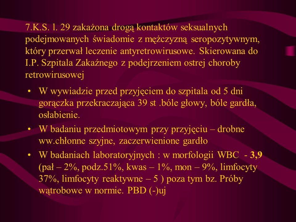 7.K.S. l. 29 zakażona drogą kontaktów seksualnych podejmowanych świadomie z mężczyzną seropozytywnym, który przerwał leczenie antyretrowirusowe. Skier