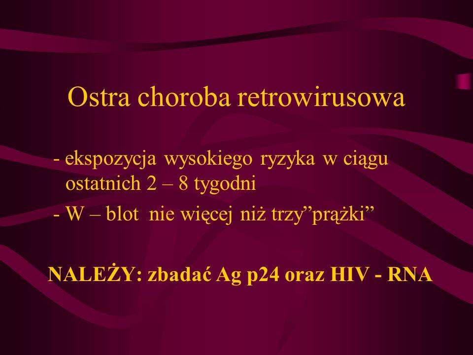 Wczesna infekcja retrowirusowa W – blot > 3 prążki (określany jako dodatni) Ekspozycja na zakażenie HIV w okresie minionych 6 miesięcy i/albo negatywny test Elisa w tym okresie