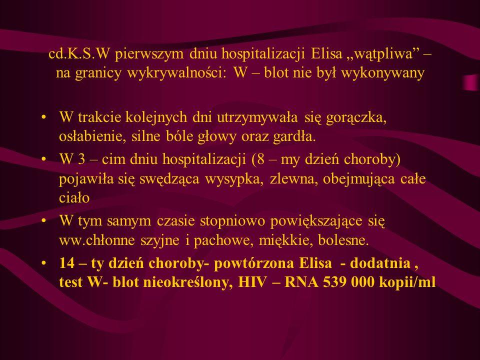 cd.K.S.W pierwszym dniu hospitalizacji Elisa wątpliwa – na granicy wykrywalności: W – blot nie był wykonywany W trakcie kolejnych dni utrzymywała się