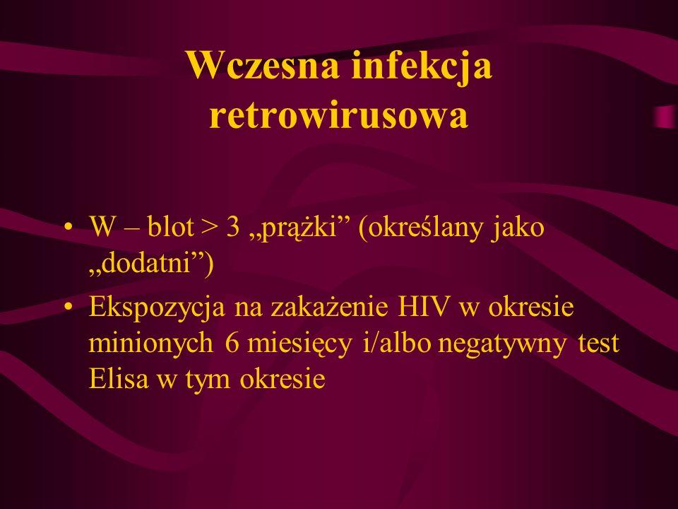 Wczesna infekcja retrowirusowa W – blot > 3 prążki (określany jako dodatni) Ekspozycja na zakażenie HIV w okresie minionych 6 miesięcy i/albo negatywn