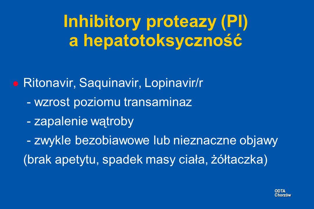 ODTA Chorzów ODTA Chorzów Inhibitory proteazy (PI) a hepatotoksyczność l Ritonavir, Saquinavir, Lopinavir/r - wzrost poziomu transaminaz - zapalenie w