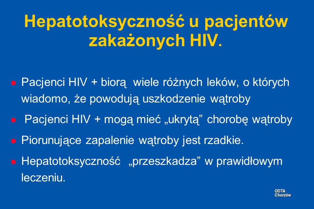 ODTA Chorzów ODTA Chorzów Hepatotoksyczność u pacjentów zakażonych HIV. l Pacjenci HIV + biorą wiele różnych leków, o których wiadomo, że powodują usz