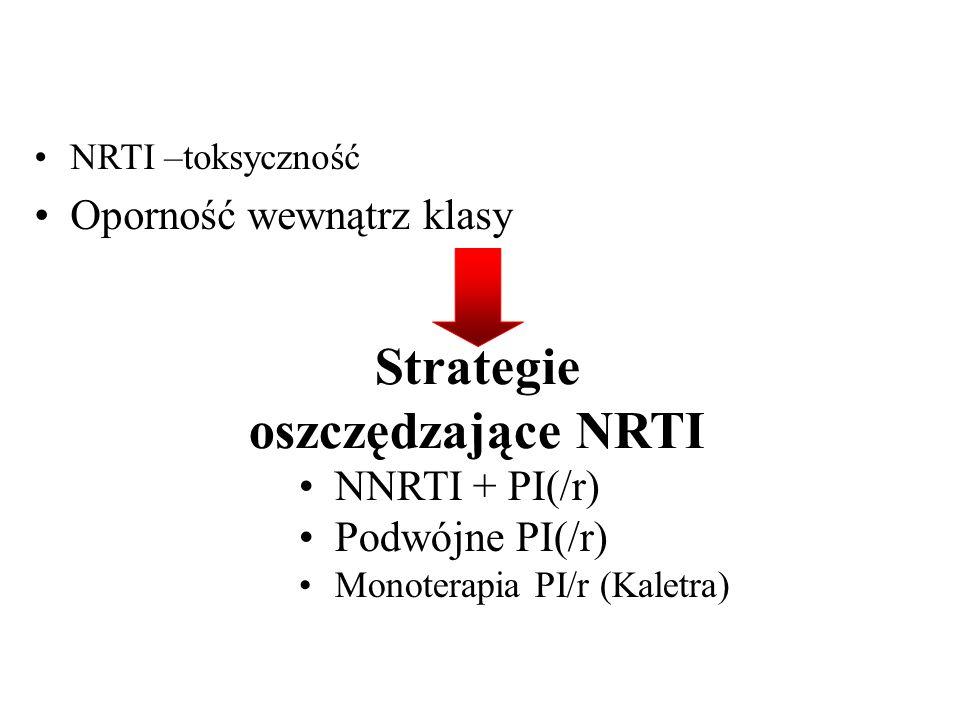 Strategie oszczędzające NRTI NNRTI + PI(/r) Podwójne PI(/r) Monoterapia PI/r (Kaletra) NRTI –toksyczność Oporność wewnątrz klasy