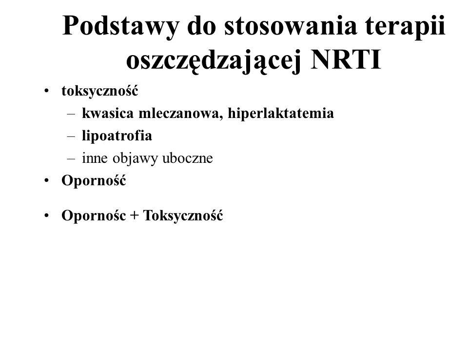 Podstawy do stosowania terapii oszczędzającej NRTI toksyczność –kwasica mleczanowa, hiperlaktatemia –lipoatrofia –inne objawy uboczne Oporność Opornoś