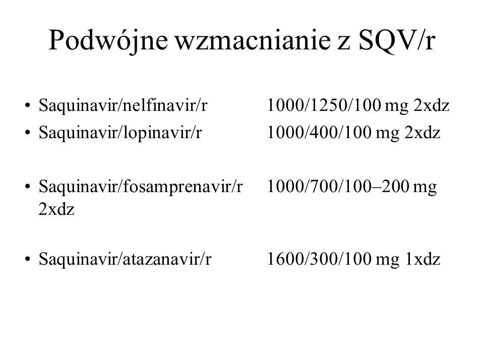 Podwójne wzmacnianie z SQV/r Saquinavir/nelfinavir/r1000/1250/100 mg 2xdz Saquinavir/lopinavir/r1000/400/100 mg 2xdz Saquinavir/fosamprenavir/r1000/70