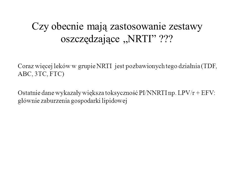 Czy obecnie mają zastosowanie zestawy oszczędzające NRTI ??? Coraz więcej leków w grupie NRTI jest pozbawionych tego działnia (TDF, ABC, 3TC, FTC) Ost