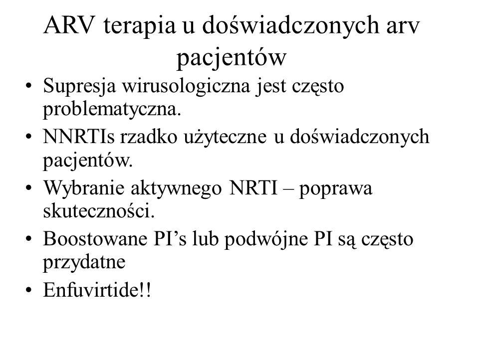 ARV terapia u doświadczonych arv pacjentów Supresja wirusologiczna jest często problematyczna. NNRTIs rzadko użyteczne u doświadczonych pacjentów. Wyb