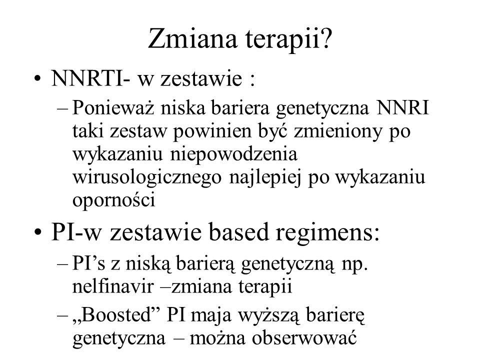 Zmiana terapii? NNRTI- w zestawie : –Ponieważ niska bariera genetyczna NNRI taki zestaw powinien być zmieniony po wykazaniu niepowodzenia wirusologicz