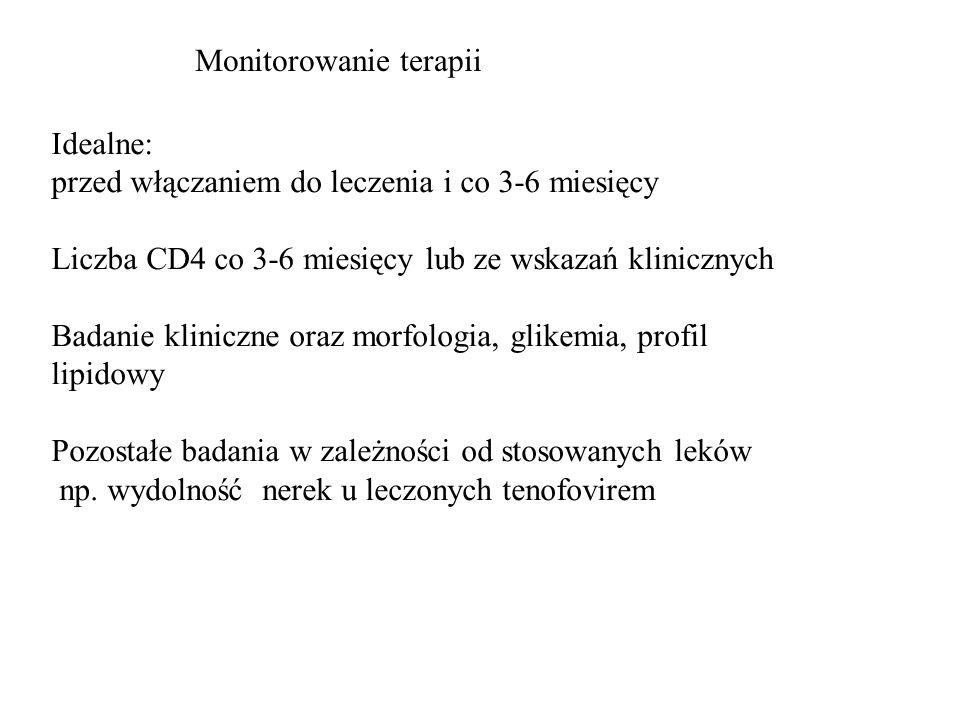 Idealne: przed włączaniem do leczenia i co 3-6 miesięcy Liczba CD4 co 3-6 miesięcy lub ze wskazań klinicznych Badanie kliniczne oraz morfologia, glike