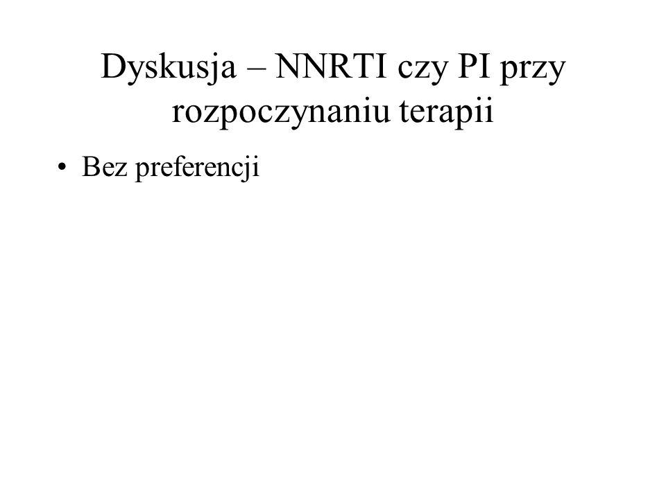 Dyskusja – NNRTI czy PI przy rozpoczynaniu terapii Bez preferencji
