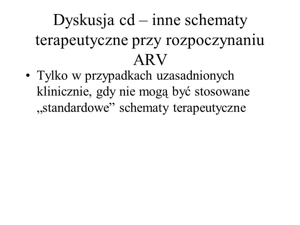 Dyskusja cd – inne schematy terapeutyczne przy rozpoczynaniu ARV Tylko w przypadkach uzasadnionych klinicznie, gdy nie mogą być stosowane standardowe