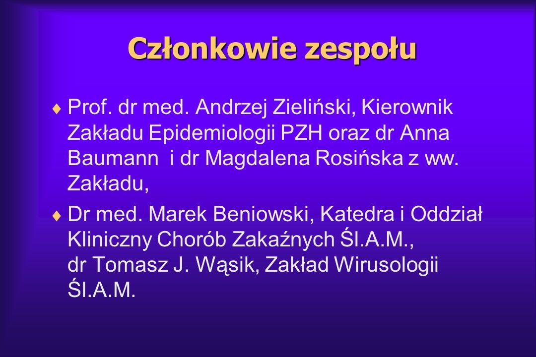 Członkowie zespołu Prof. dr med. Andrzej Zieliński, Kierownik Zakładu Epidemiologii PZH oraz dr Anna Baumann i dr Magdalena Rosińska z ww. Zakładu, Dr