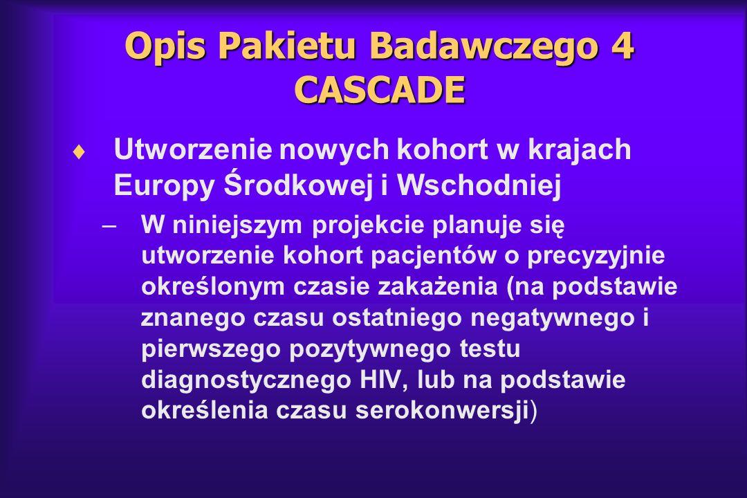 Opis Pakietu Badawczego 4 CASCADE Utworzenie nowych kohort w krajach Europy Środkowej i Wschodniej –W niniejszym projekcie planuje się utworzenie koho