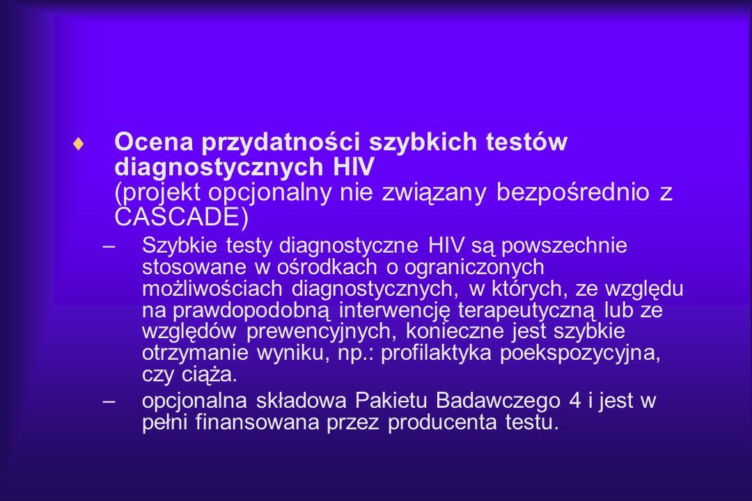 Ocena przydatności szybkich testów diagnostycznych HIV (projekt opcjonalny nie związany bezpośrednio z CASCADE) –Szybkie testy diagnostyczne HIV są po
