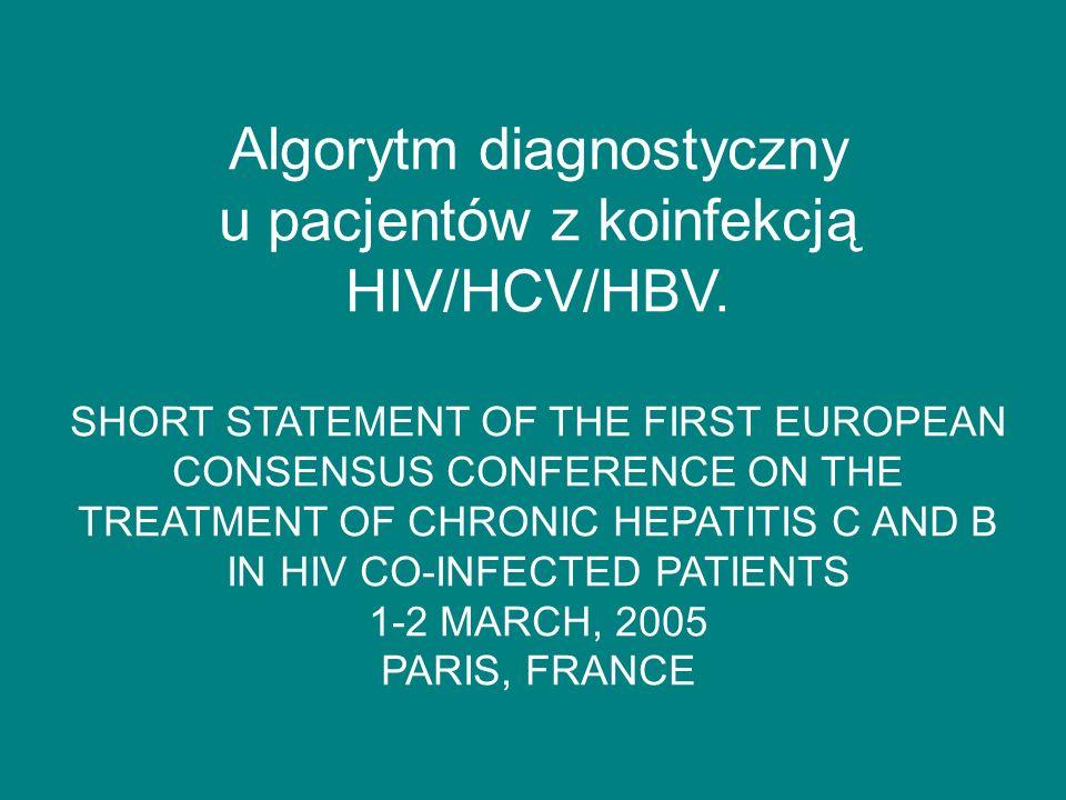 Postępowanie w zakażeniu HBV/HIV Kryteria decydujące o włączeniu leczenia.