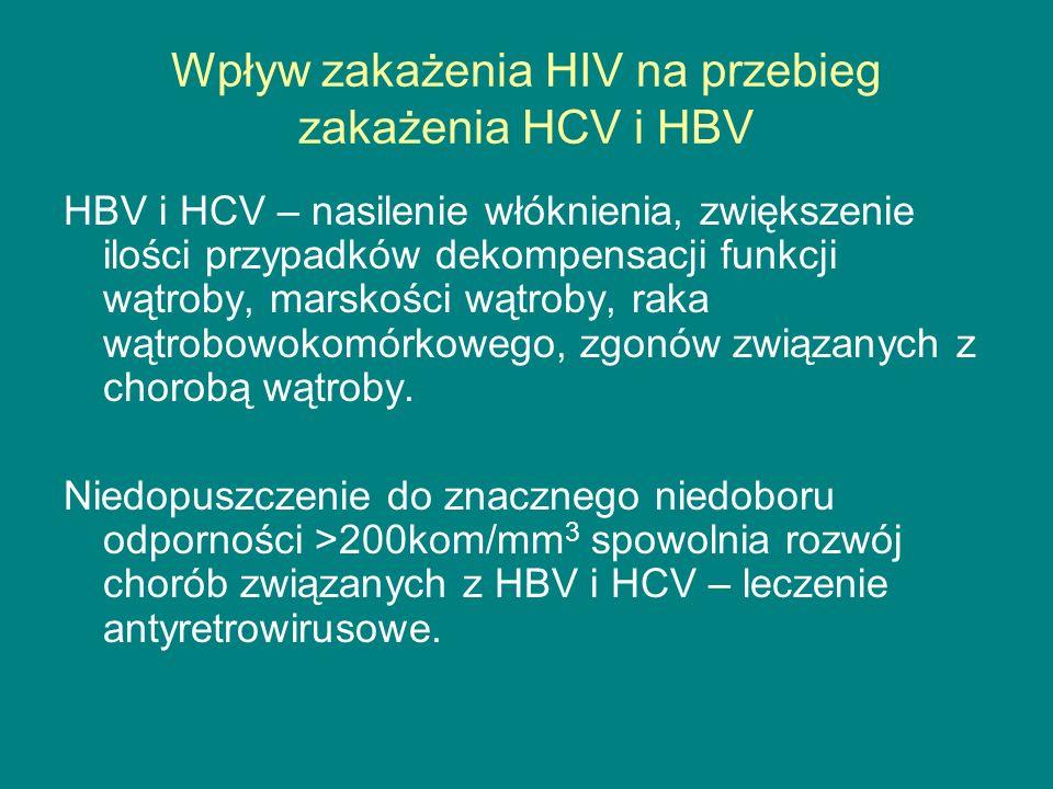 Wpływ zakażenia HIV na przebieg zakażenia HCV i HBV HBV i HCV – nasilenie włóknienia, zwiększenie ilości przypadków dekompensacji funkcji wątroby, mar
