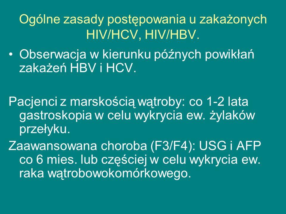 Ogólne zasady postępowania u zakażonych HIV/HCV, HIV/HBV. Obserwacja w kierunku późnych powikłań zakażeń HBV i HCV. Pacjenci z marskością wątroby: co