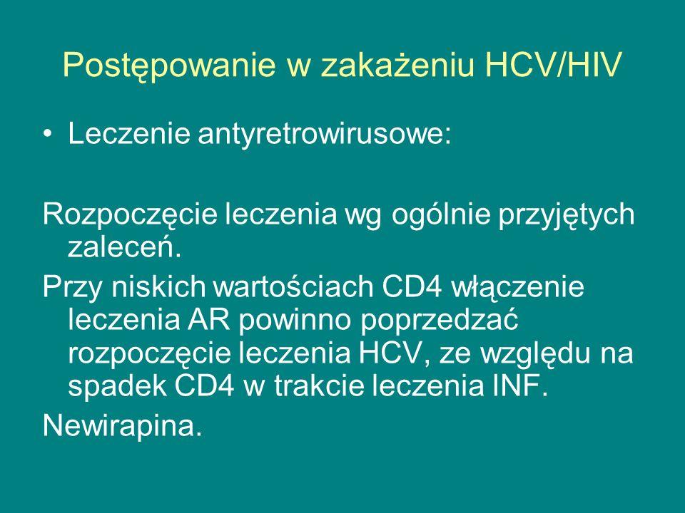 Postępowanie w zakażeniu HCV/HIV Leczenie antyretrowirusowe: Rozpoczęcie leczenia wg ogólnie przyjętych zaleceń. Przy niskich wartościach CD4 włączeni