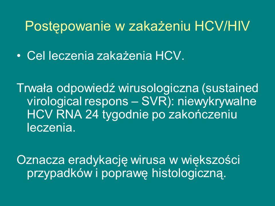 Postępowanie w zakażeniu HCV/HIV Cel leczenia zakażenia HCV. Trwała odpowiedź wirusologiczna (sustained virological respons – SVR): niewykrywalne HCV