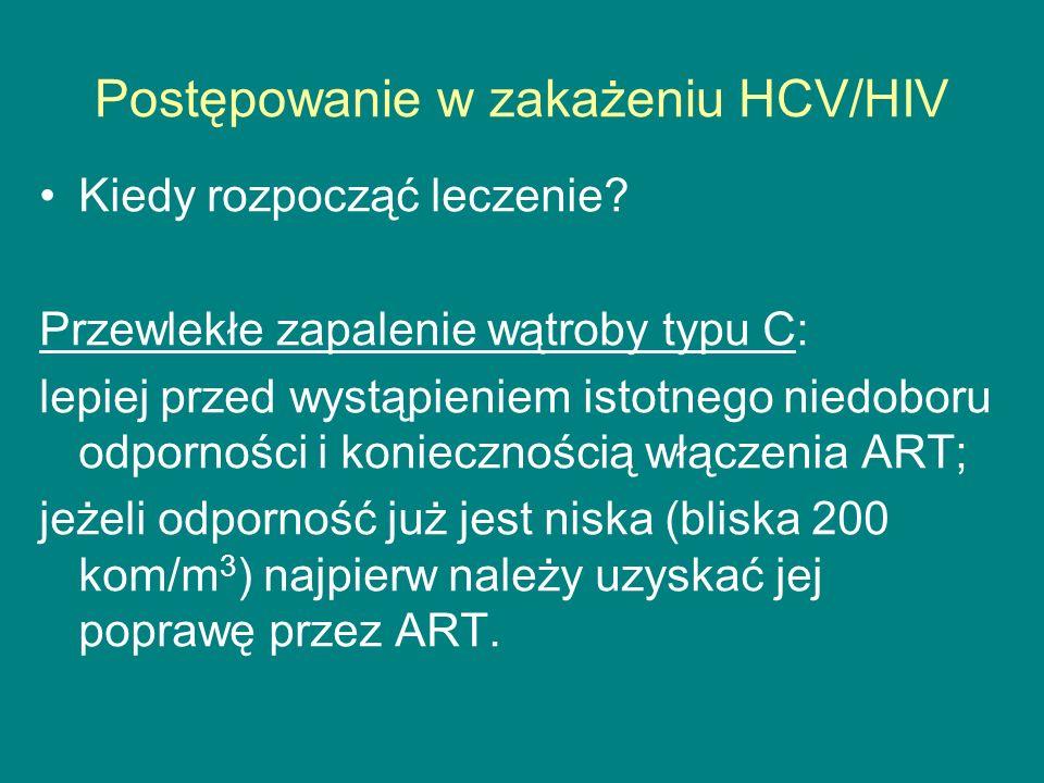 Postępowanie w zakażeniu HCV/HIV Kiedy rozpocząć leczenie? Przewlekłe zapalenie wątroby typu C: lepiej przed wystąpieniem istotnego niedoboru odpornoś
