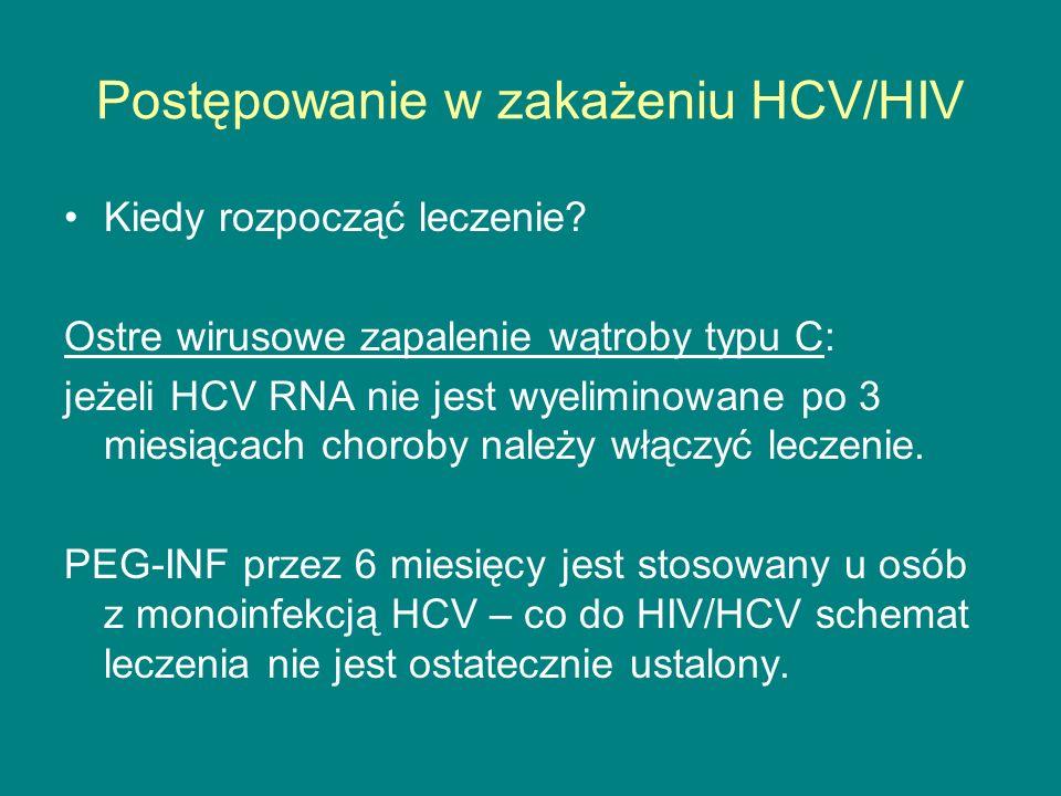 Postępowanie w zakażeniu HCV/HIV Kiedy rozpocząć leczenie? Ostre wirusowe zapalenie wątroby typu C: jeżeli HCV RNA nie jest wyeliminowane po 3 miesiąc