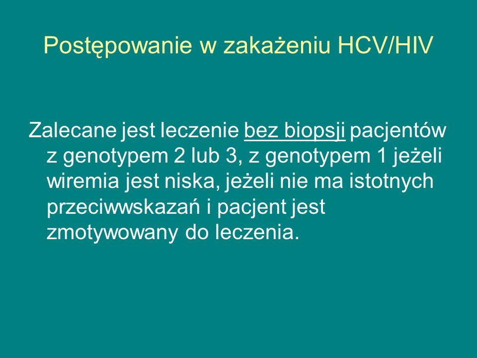 Postępowanie w zakażeniu HCV/HIV Zalecane jest leczenie bez biopsji pacjentów z genotypem 2 lub 3, z genotypem 1 jeżeli wiremia jest niska, jeżeli nie