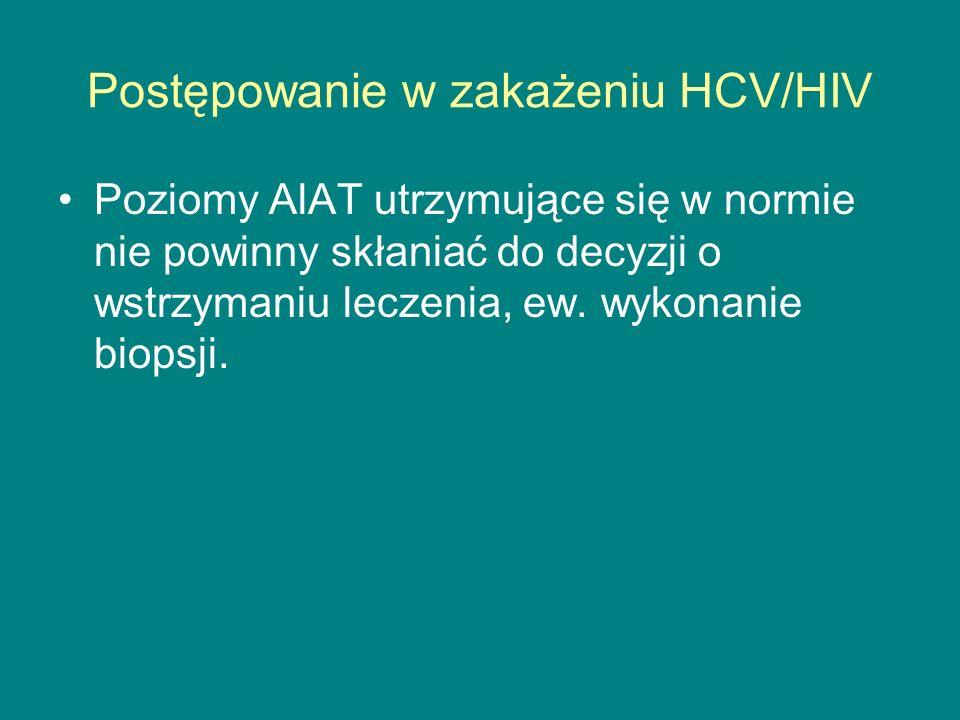 Postępowanie w zakażeniu HCV/HIV Poziomy AlAT utrzymujące się w normie nie powinny skłaniać do decyzji o wstrzymaniu leczenia, ew. wykonanie biopsji.