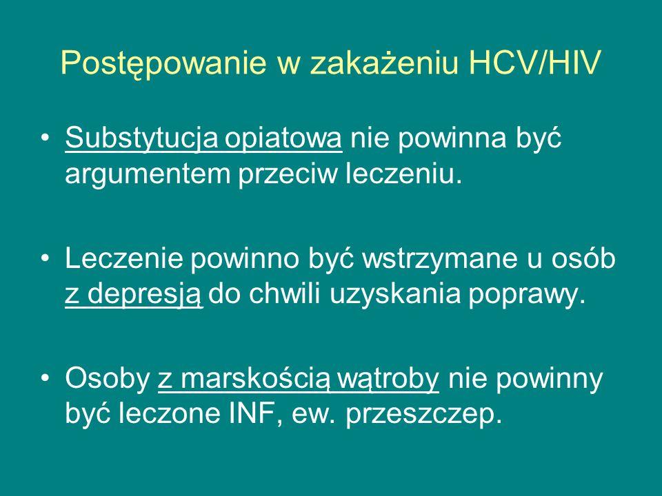 Postępowanie w zakażeniu HCV/HIV Substytucja opiatowa nie powinna być argumentem przeciw leczeniu. Leczenie powinno być wstrzymane u osób z depresją d