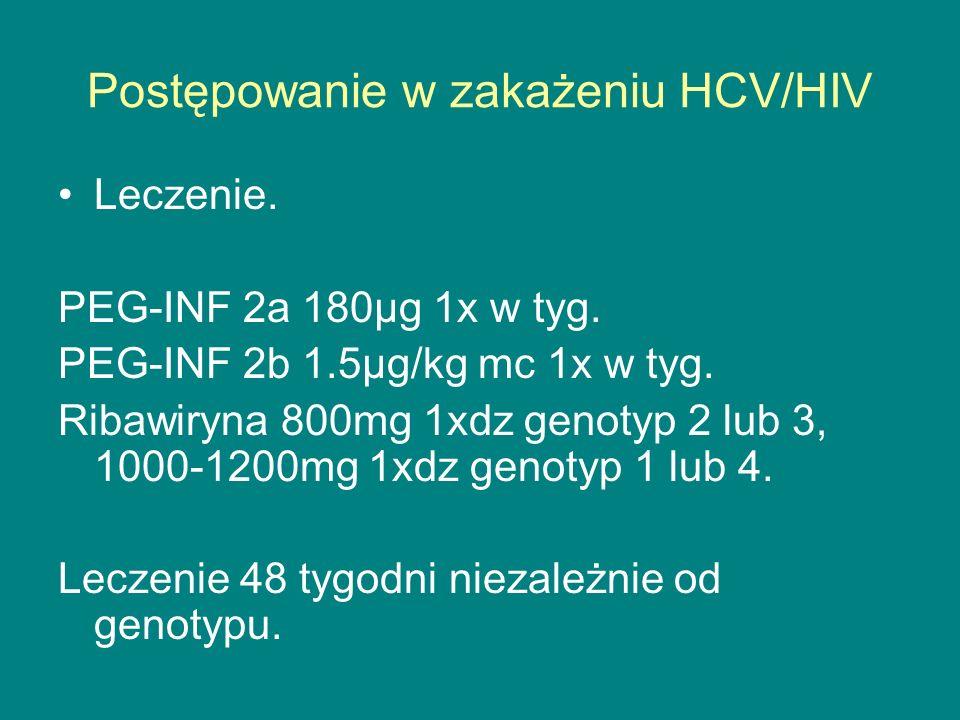Postępowanie w zakażeniu HCV/HIV Leczenie. PEG-INF 2a 180µg 1x w tyg. PEG-INF 2b 1.5µg/kg mc 1x w tyg. Ribawiryna 800mg 1xdz genotyp 2 lub 3, 1000-120