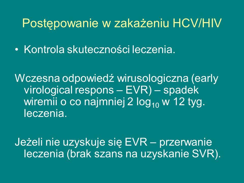 Postępowanie w zakażeniu HCV/HIV Kontrola skuteczności leczenia. Wczesna odpowiedź wirusologiczna (early virological respons – EVR) – spadek wiremii o